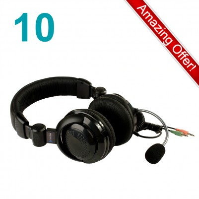 Coomber Stereo Headsets with Boom Mic Pack of 10