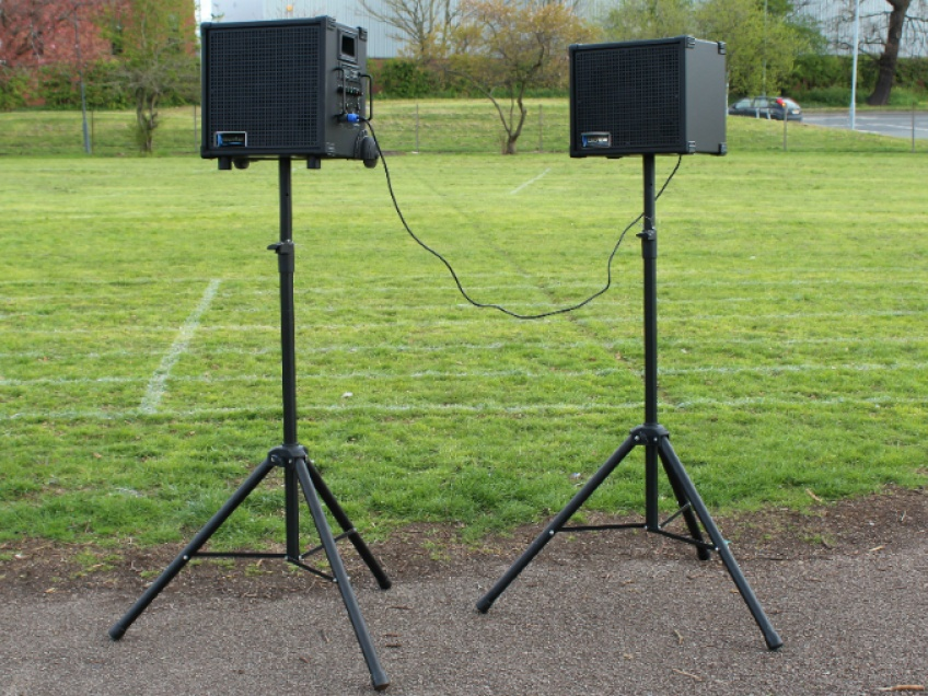 - For better sound distribution, use the speaker stands.